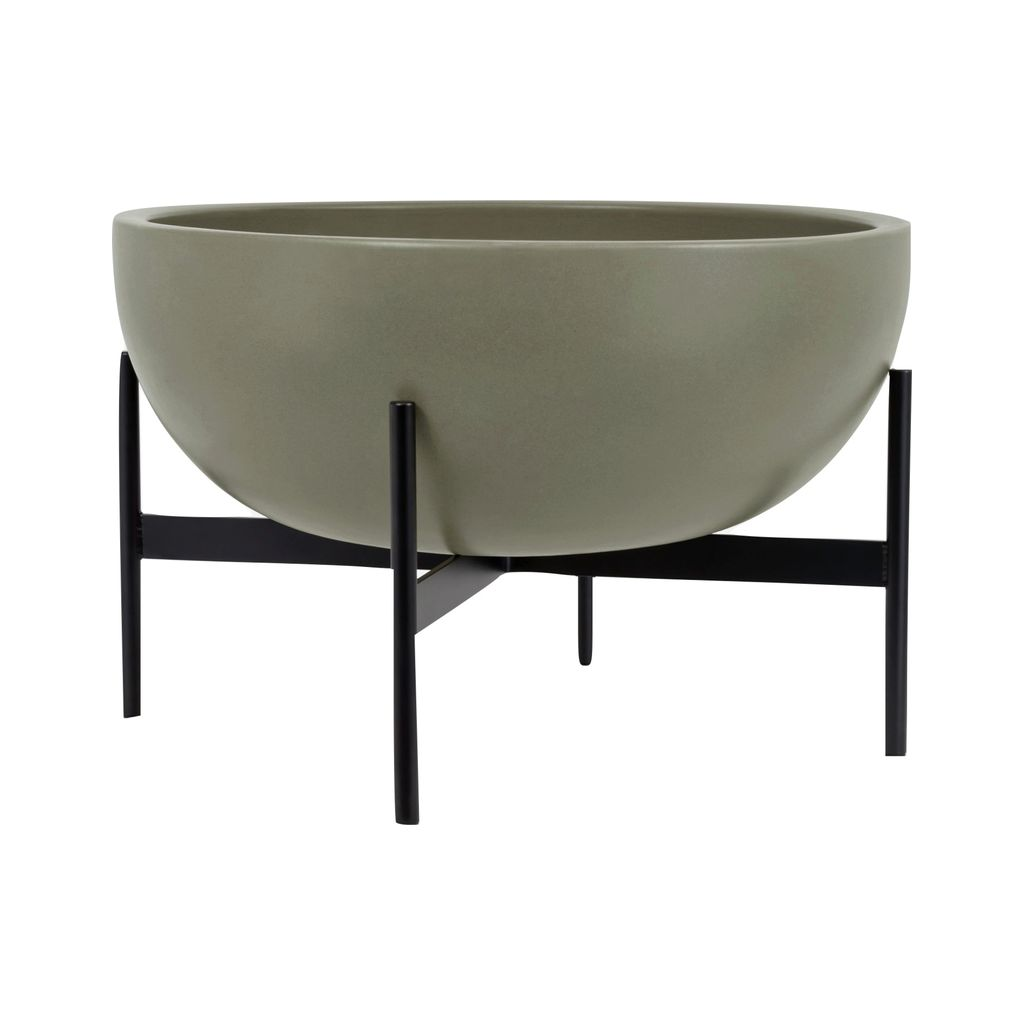 Modernica Case Study Large Bowl with Metal Stand | Pebble CER-W-BWL-22-9-MET-PEB