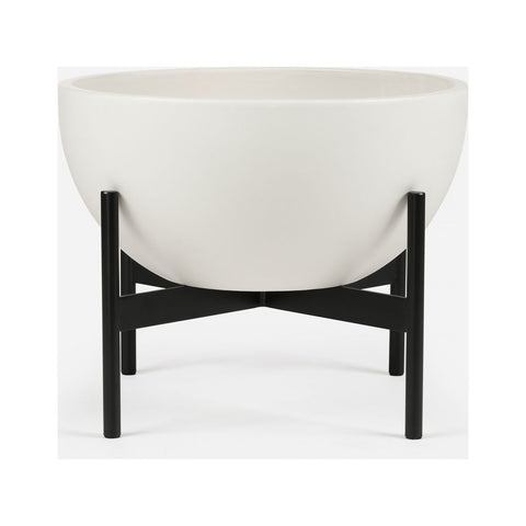 Modernica Case Study Medium Bowl with Metal Stand | White CER-W-BWL-16-7-MET-WHT