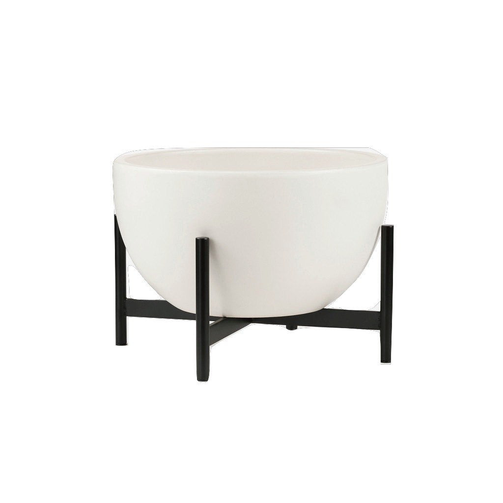 Modernica Case Study Small Bowl With Metal Stand | White CER-W-BWL-11.25-6-MET-WHT