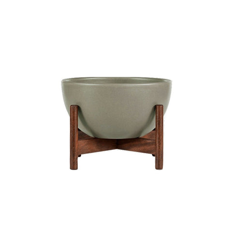 Modernica Case Study Tabletop Bowl With Wood Stand | Pebble CER-W-BWL-8-4-BWA-PEB