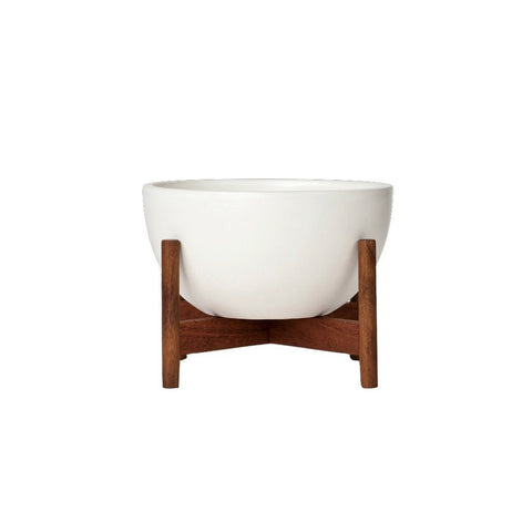Modernica Case Study Tabletop Bowl With Wood Stand | White CER-W-BWL-8-4-BWA-WHT