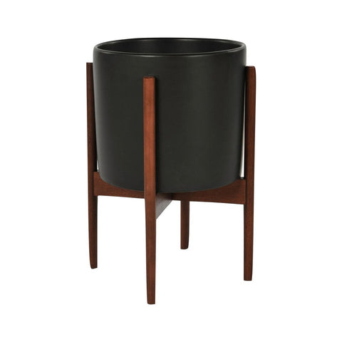 Modernica Ceramic Small Cylinder Planter | Charcoal / Wood Stand CER-W-CYL-11.5-10-BWA-BLK