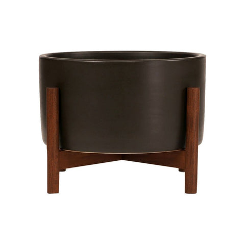 Modernica Case Study Walnut Desk Top Cylinder Wood Base | Charcoal CER-W-CYL-6-3-BWA-CHR