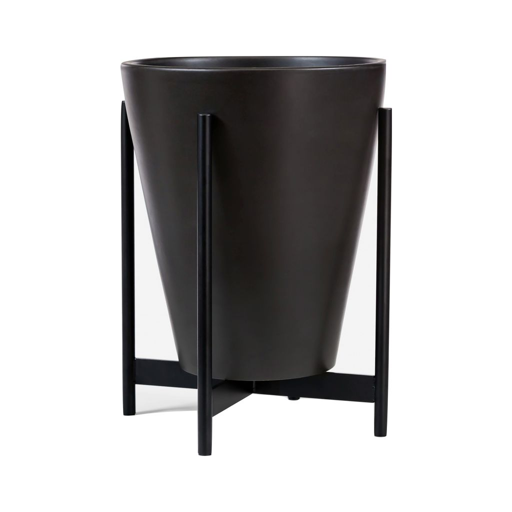 Modernica Case Study Small Funnel with Metal Stand | Charcoal CER-W-FUN-12-14-MET-CHR