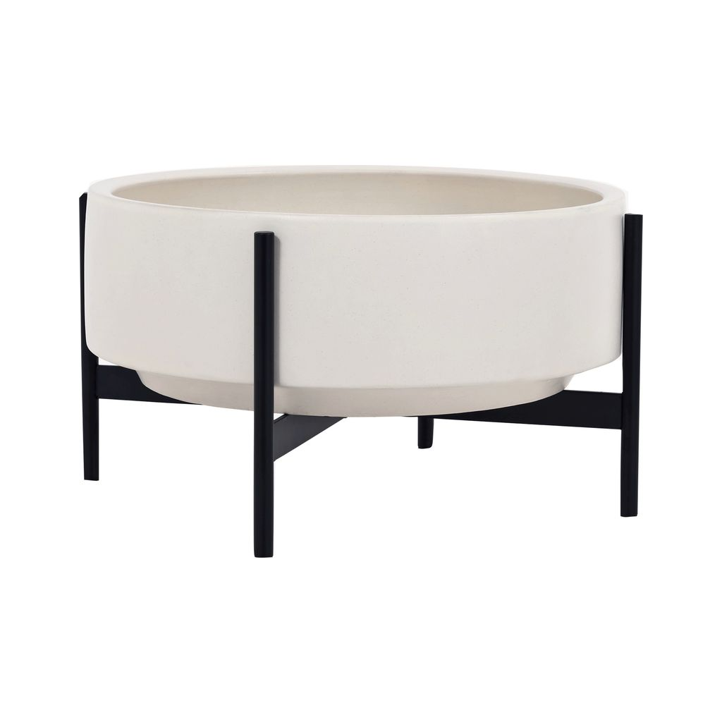 Modernica Case Study Raised Low Pan with Metal Stand | White CER-W-RLP-22-6-MET-WHT