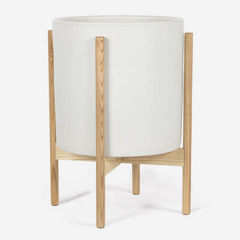 Modernica Case Study X-Large Cylinder with Wood Stand | White CER-W-CYL-14.5-14-BWA-WHT