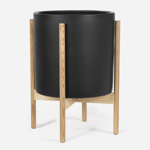 Modernica Case Study X-Lagre Cylinder with Wood Stand | Charcoal CER-W-CYL-14.5-14-BWA-CHR
