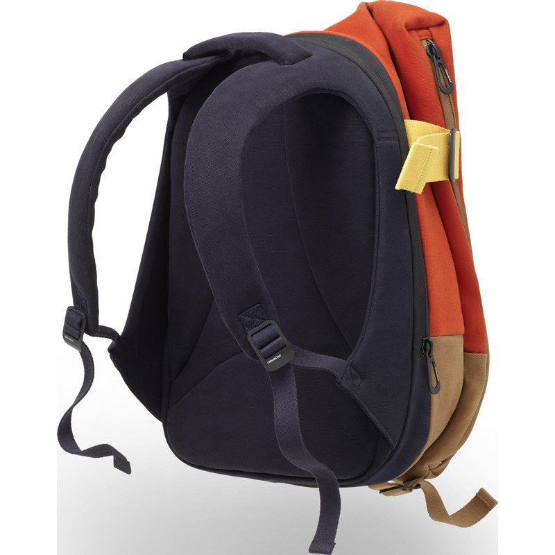 Cote et Ciel Isar Twin Touch Contrast Canvas Laptop Backpack | Deep Atlantic Blue / Orange 28024