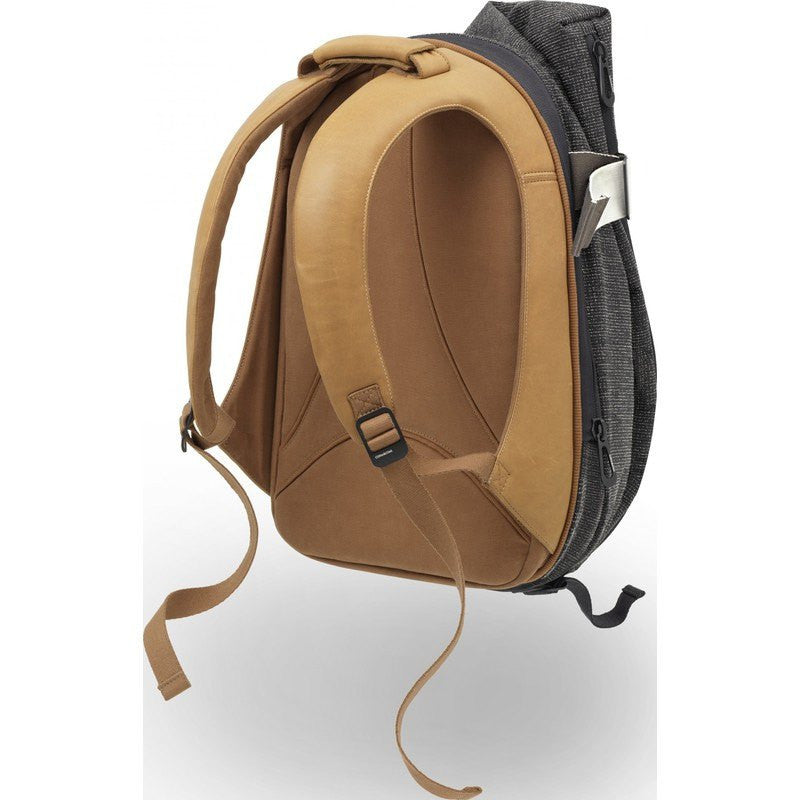 Cote et Ciel Isar Twin Touch Grid and Leather Laptop Backpack | Juniper Green/Caramel