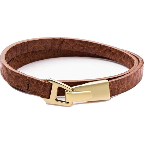 Miansai Moore Wrap Bracelet | Matte Gold/Sahara Leather 101-0111-002