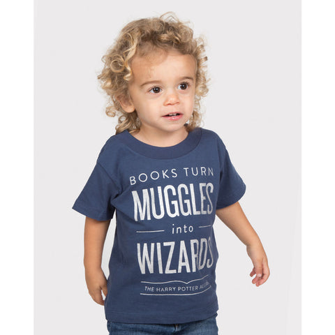 Out of Print Books Turn Muggles into Wizards Kid's T-Shirt | Blue 2 YR Y-2045