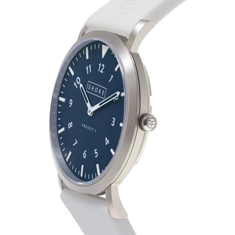 Shore Projects Newquay Watch with Silicone Strap | Silver / Navy / White S026S