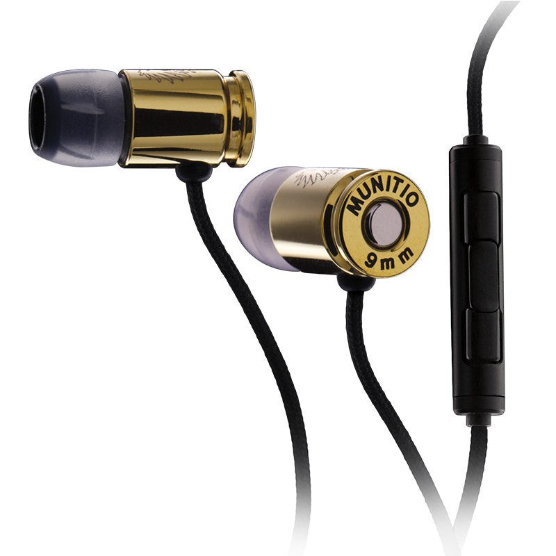 Munitio Nines Tactical 9mm Earphones w/ 3-Button Mic | Gold