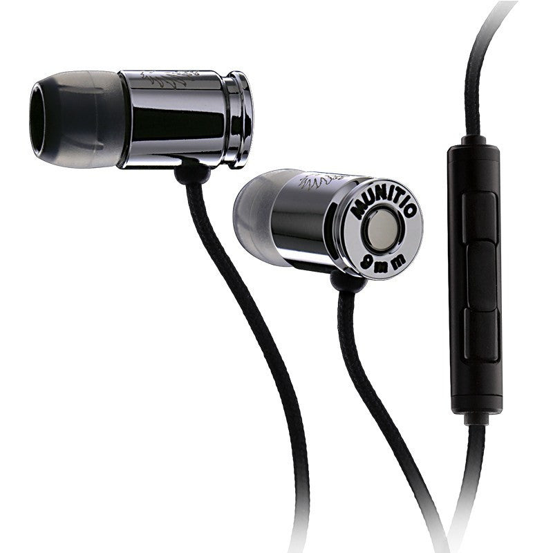 Munitio Nines Tactical 9mm Earphones w/ 3-Button Mic | Silver