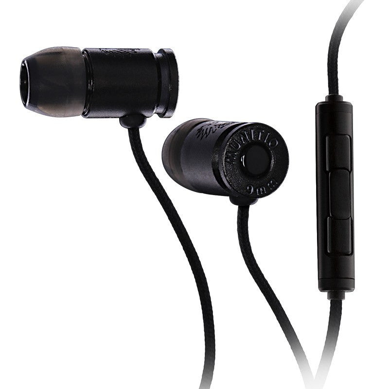 Munitio Nines Tactical 9mm Earphones w/ 3-Button Mic | Black