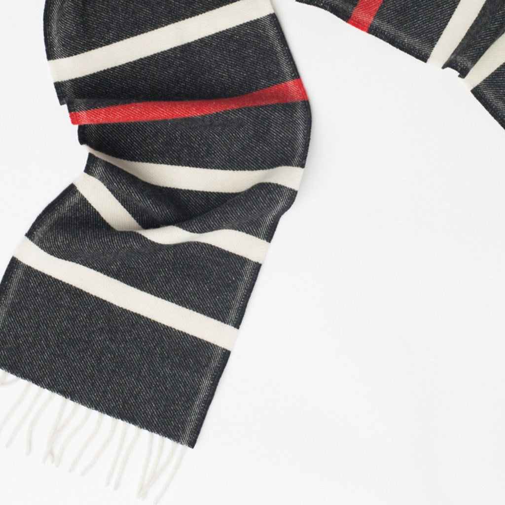 Faribault Nisswa Stripe Wool Scarf | Natural/Charcoal/Red 12301 10x72