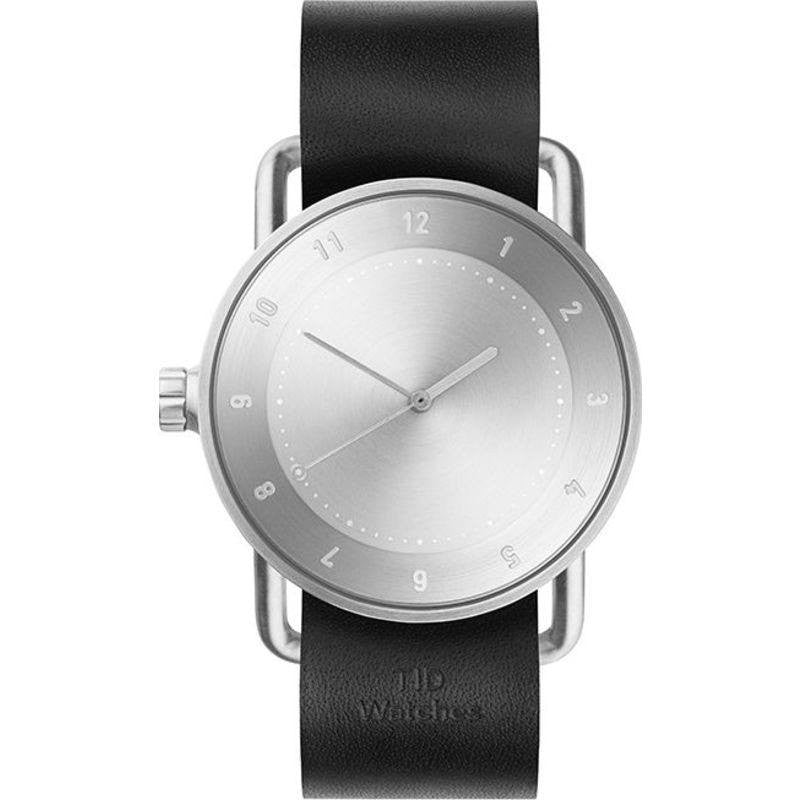 TID No. 2 Brushed Steel Watch | Black Leather