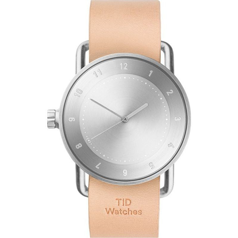 TID No. 2 Brushed Steel Watch | Natural Leather