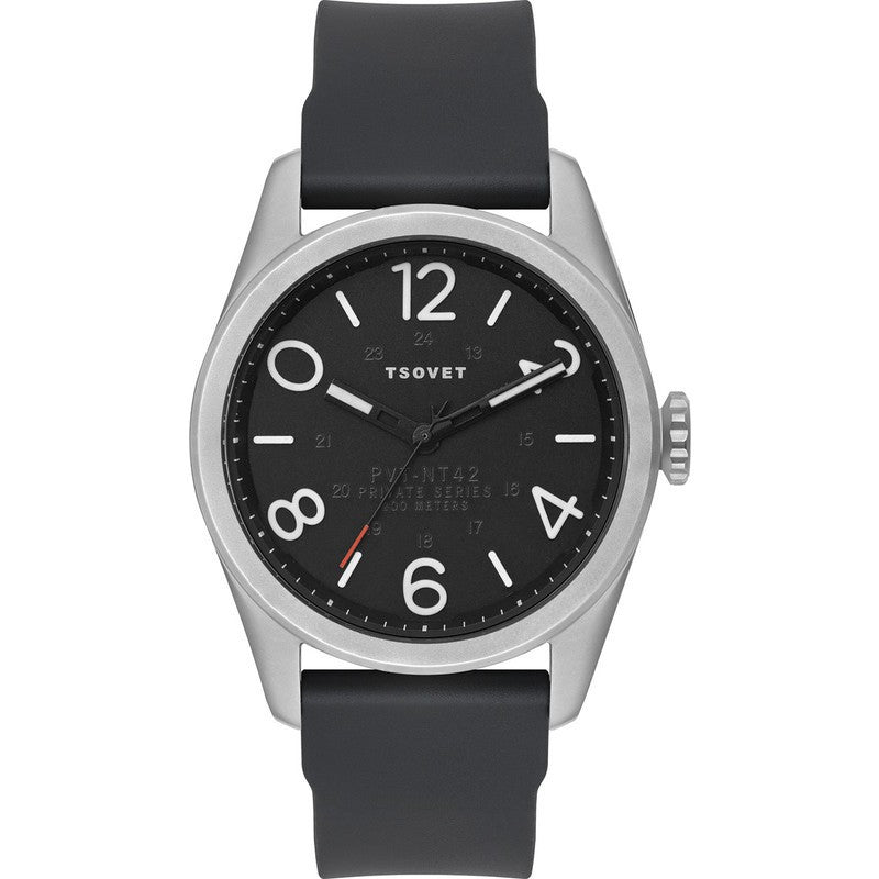 Tsovet JPT-NT42 Steel & Matte Black Watch | Black Rubber NT111040-45