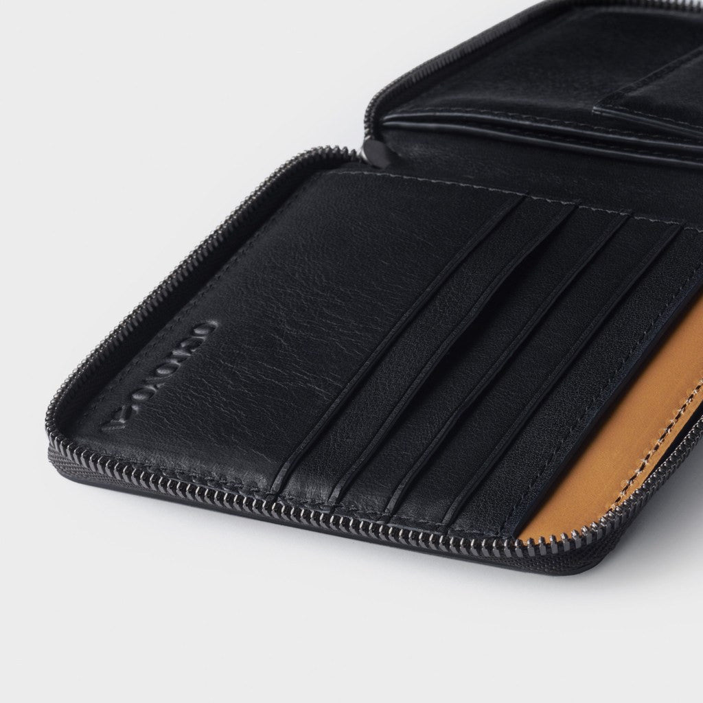 Octovo Euro Cage Leather Zip Wallet | Black W01-012-BLK