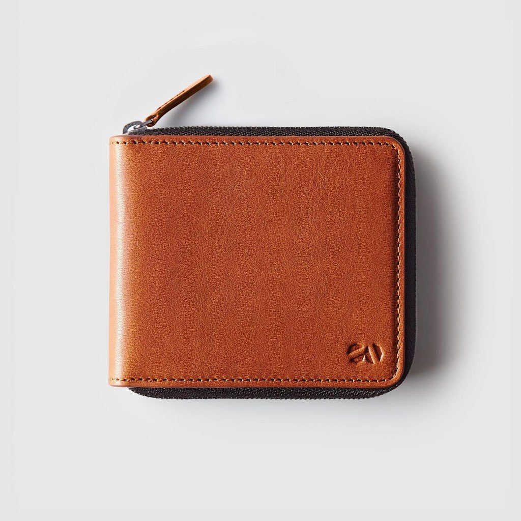 Octovo Euro Cage Leather Zip Wallet | Chestnut W01-012-CHU