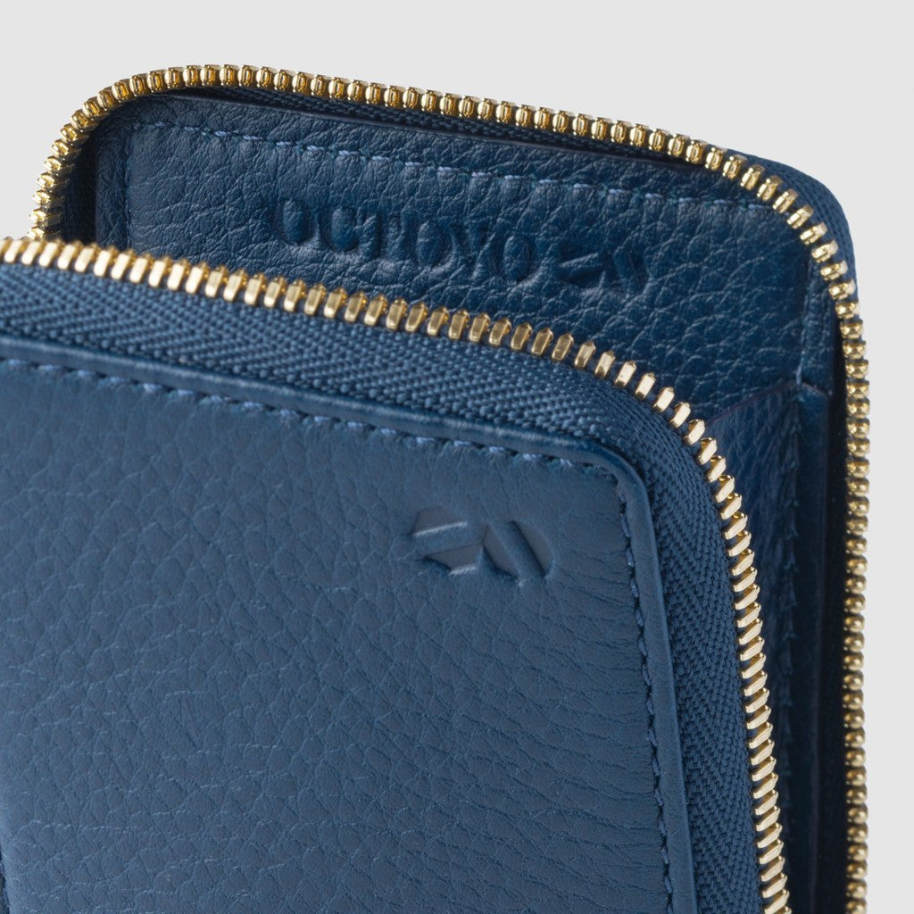 Octovo Birdcage Leather Zip Wallet | Embossed Blue