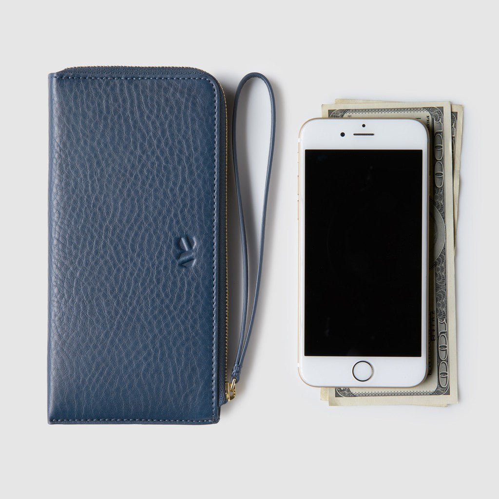 Octovo Phonebooth Leather Wallet | Blue