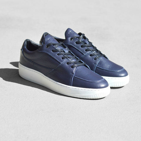 Mercer Amsterdam Park Ave Leather Low Top Shoes | Navy