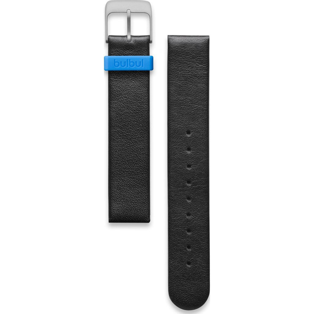 bulbul Pebble / Ore 02 Strap | Black Italian Leather & Steel Buckle