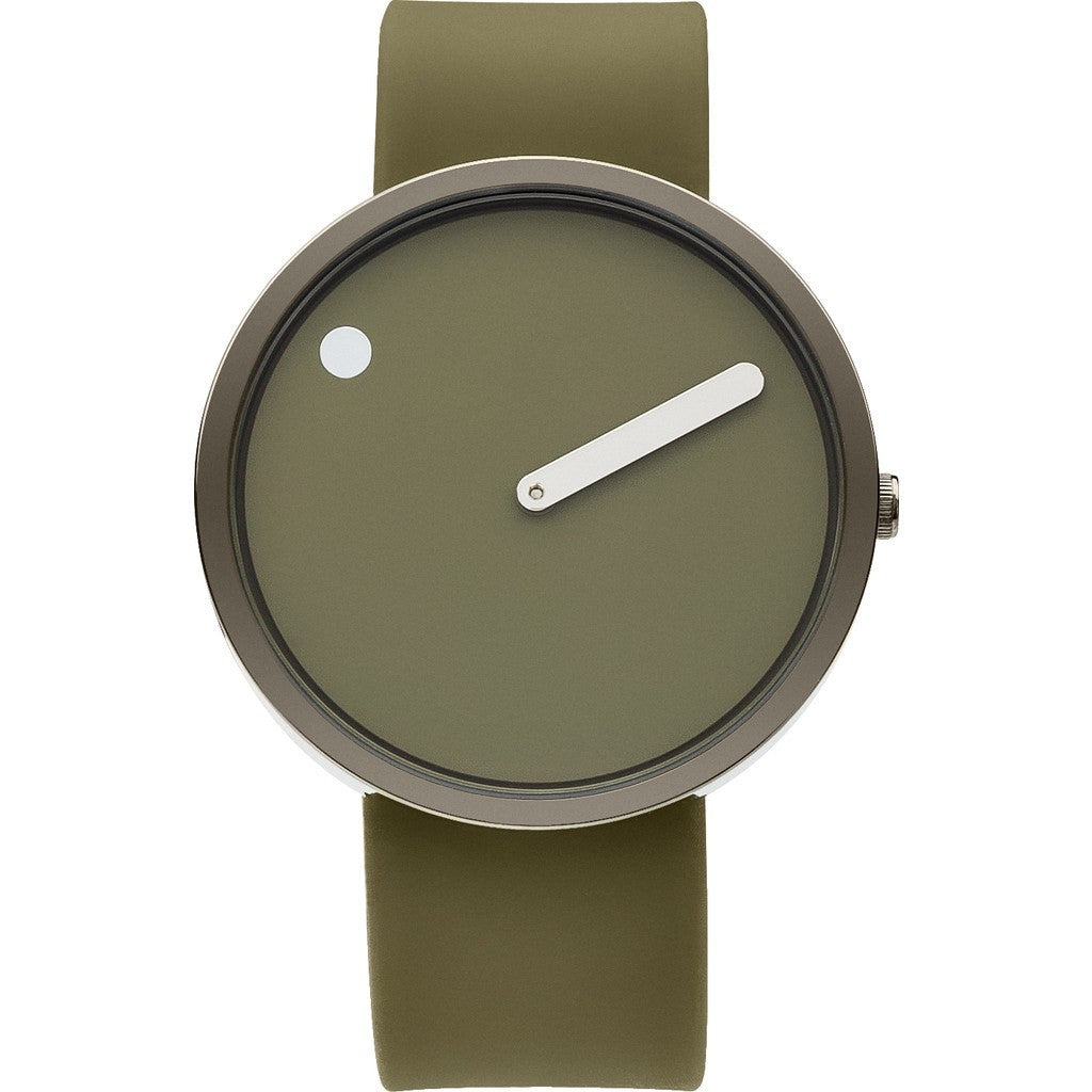 Picto 40mm Green Analog Watch | Silver/Green Silicone RD-43357