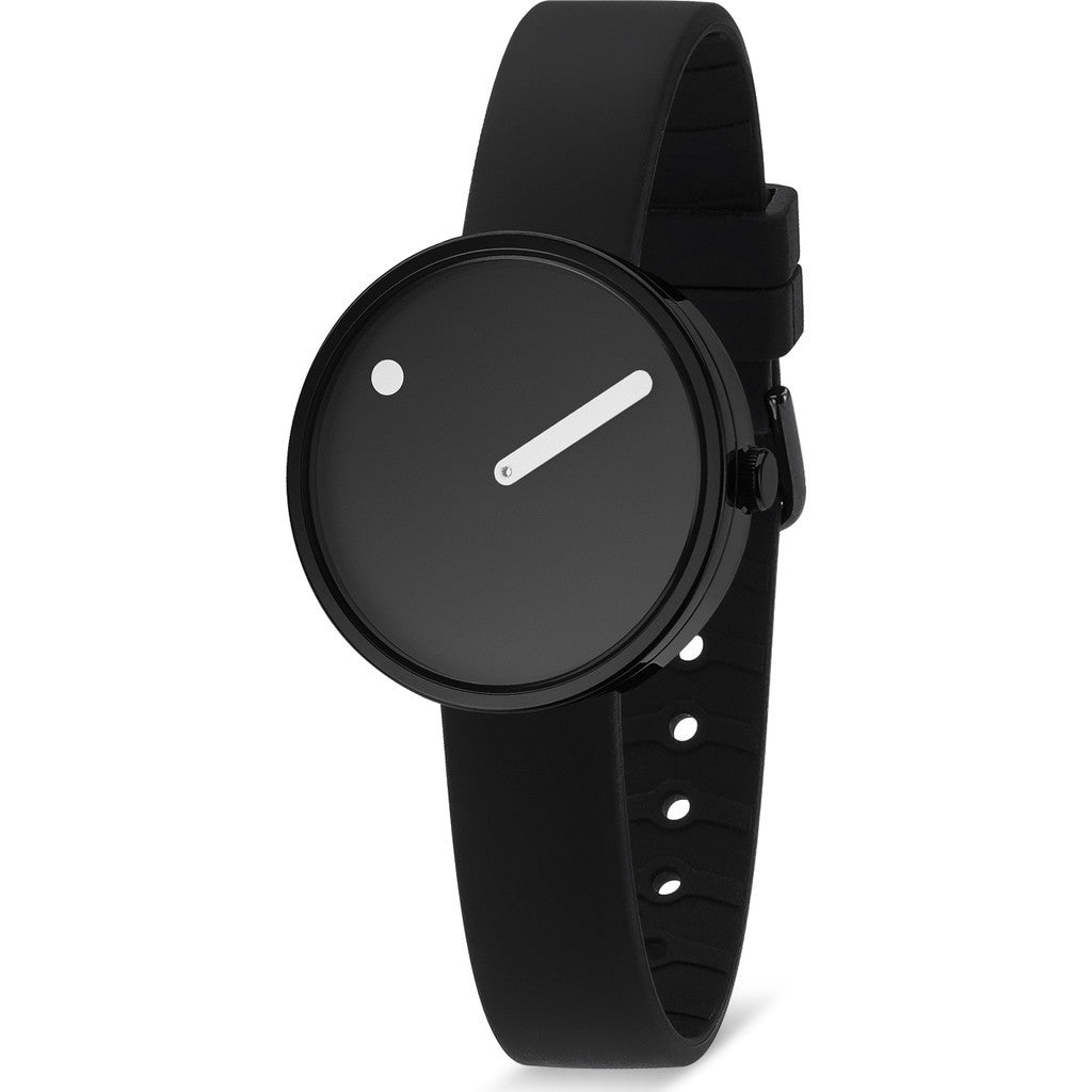 Rosendahl Picto 30mm Black Analog Watch | Black/Black Silicone RD-43360