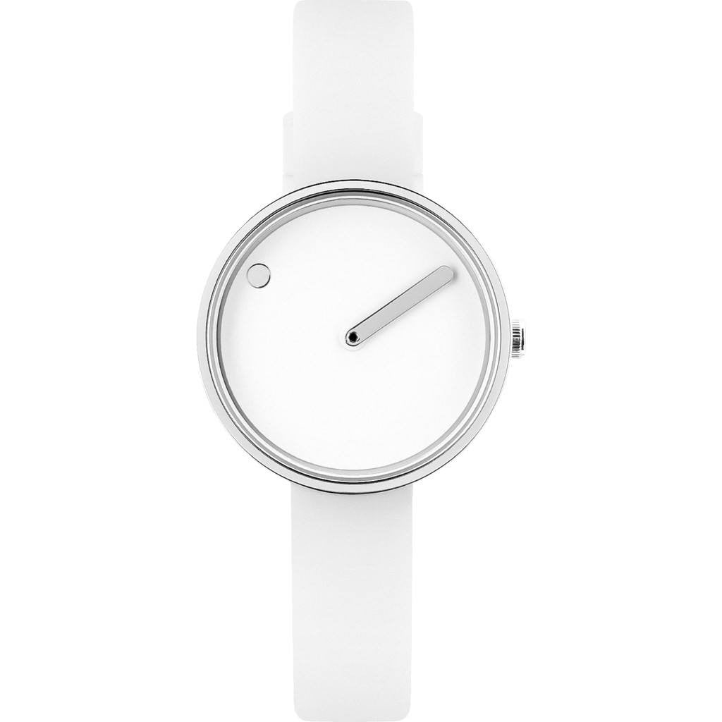 Rosendahl Picto 30mm White Analog Watch | Silver/White Silicone RD-43363