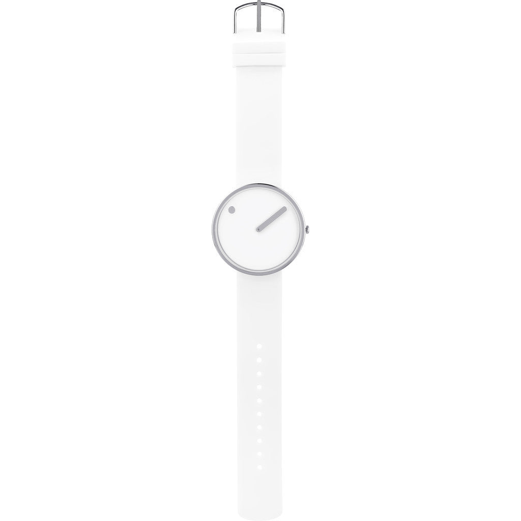 Rosendahl Picto 45mm White Analog Watch | Silver/White Silicone RD-43365