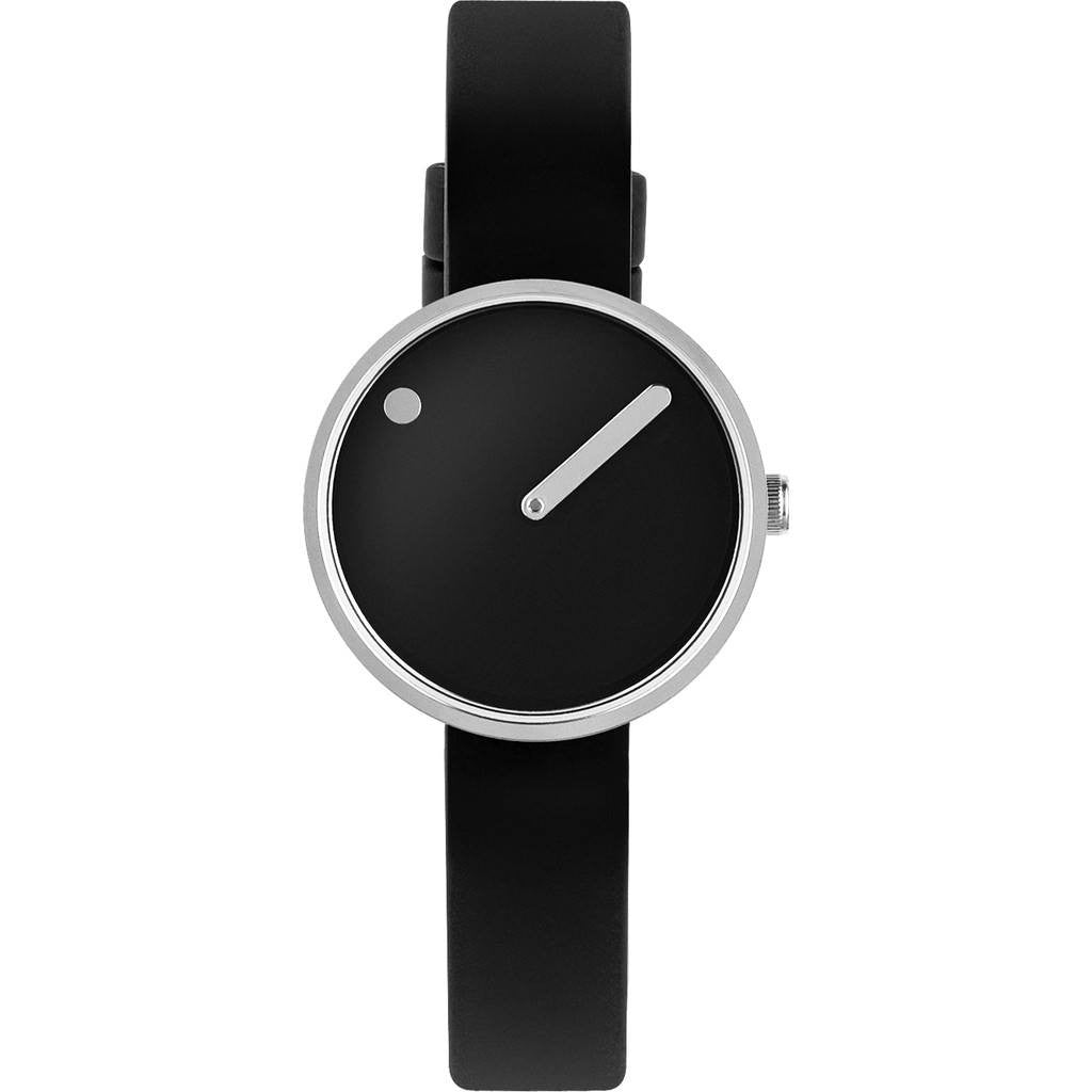 Rosendahl Picto 30mm Black Analog Watch | Silver/Black Silicone RD-43369