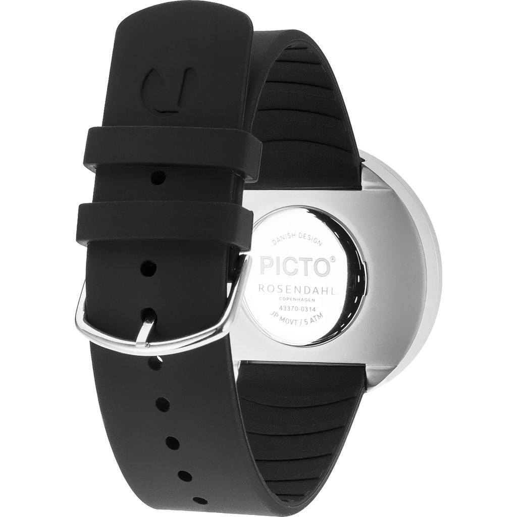 Rosendahl Picto 40mm Black Analog Watch | Silver/Black Silicone RD-43370