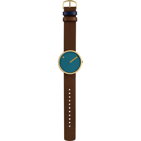 Rosendahl Picto 40mm Dusty Blue Analog Watch | Gold/Dark Brown Leather RD-43376