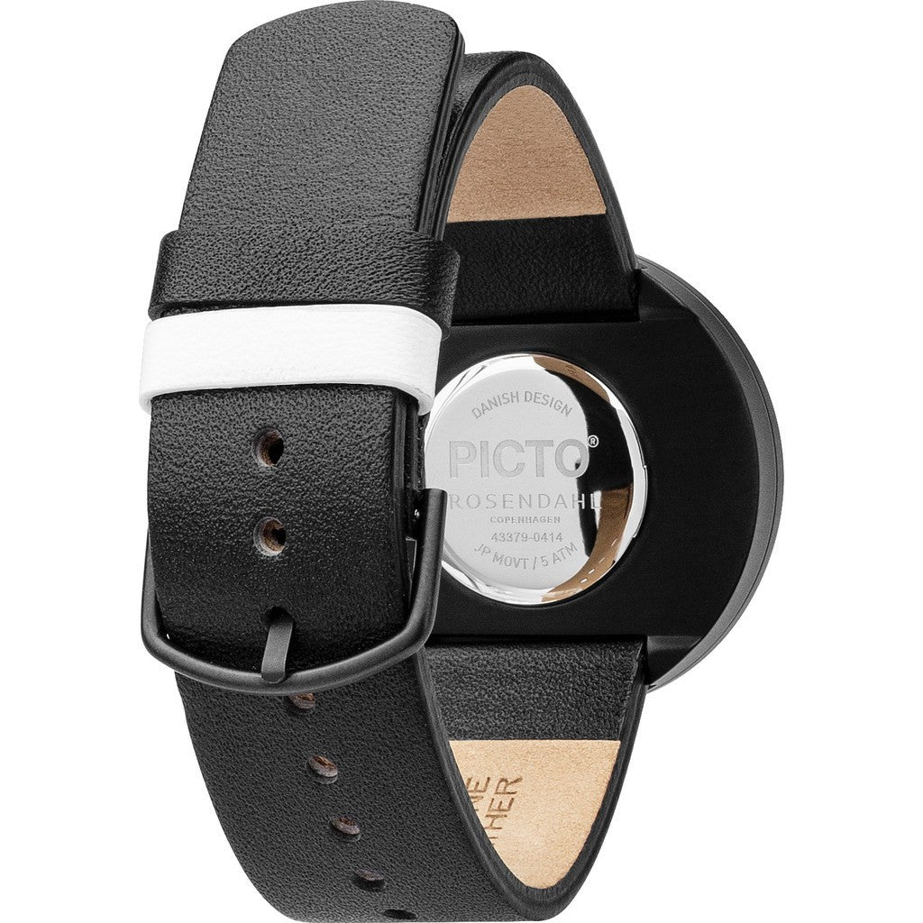 Rosendahl Picto 40mm White Analog Watch | Black/Black Leather RD-43379