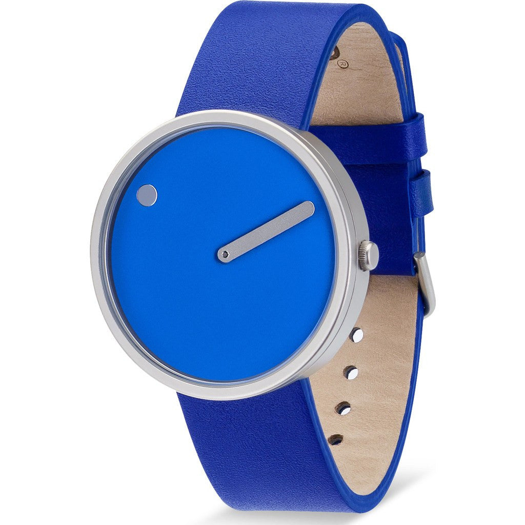 Picto 40mm Sky Blue Analog Watch | Stainless Steel/Blue Leather RD-43380