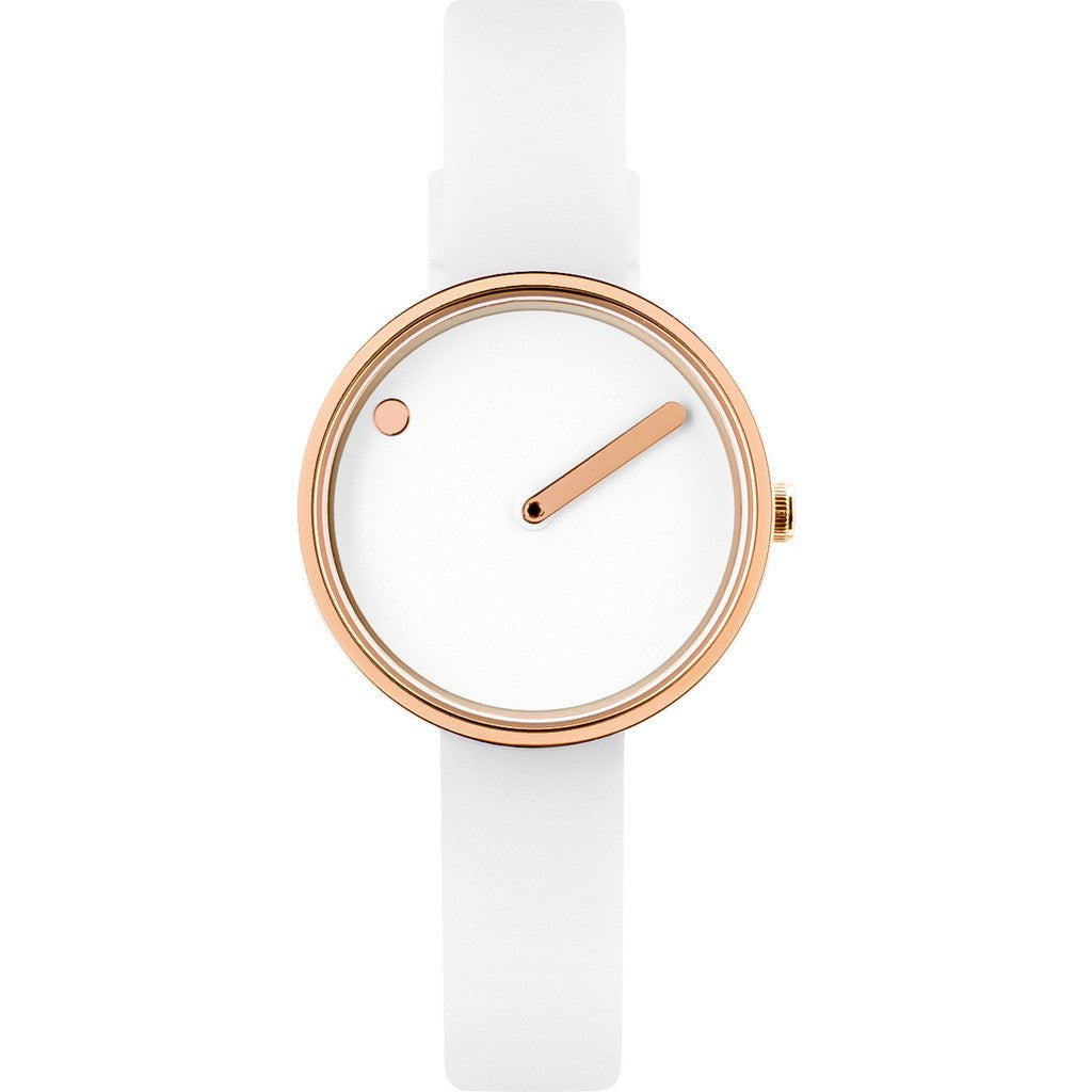 Rosendahl Picto 30mm White Analog Watch Rose Gold/White Silicone RD-43381