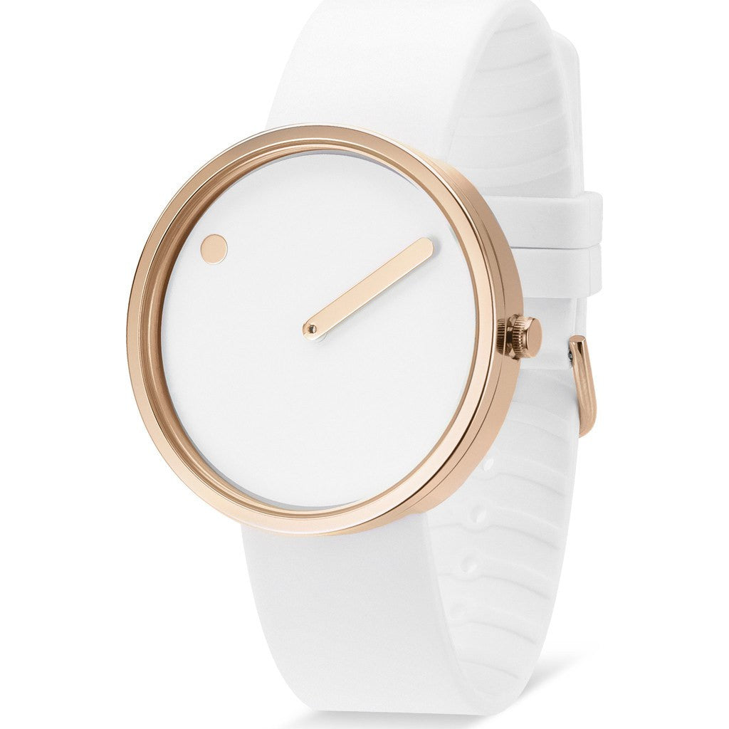 Picto 40mm White Analog Watch | Rose Gold/White Silicone RD-43383