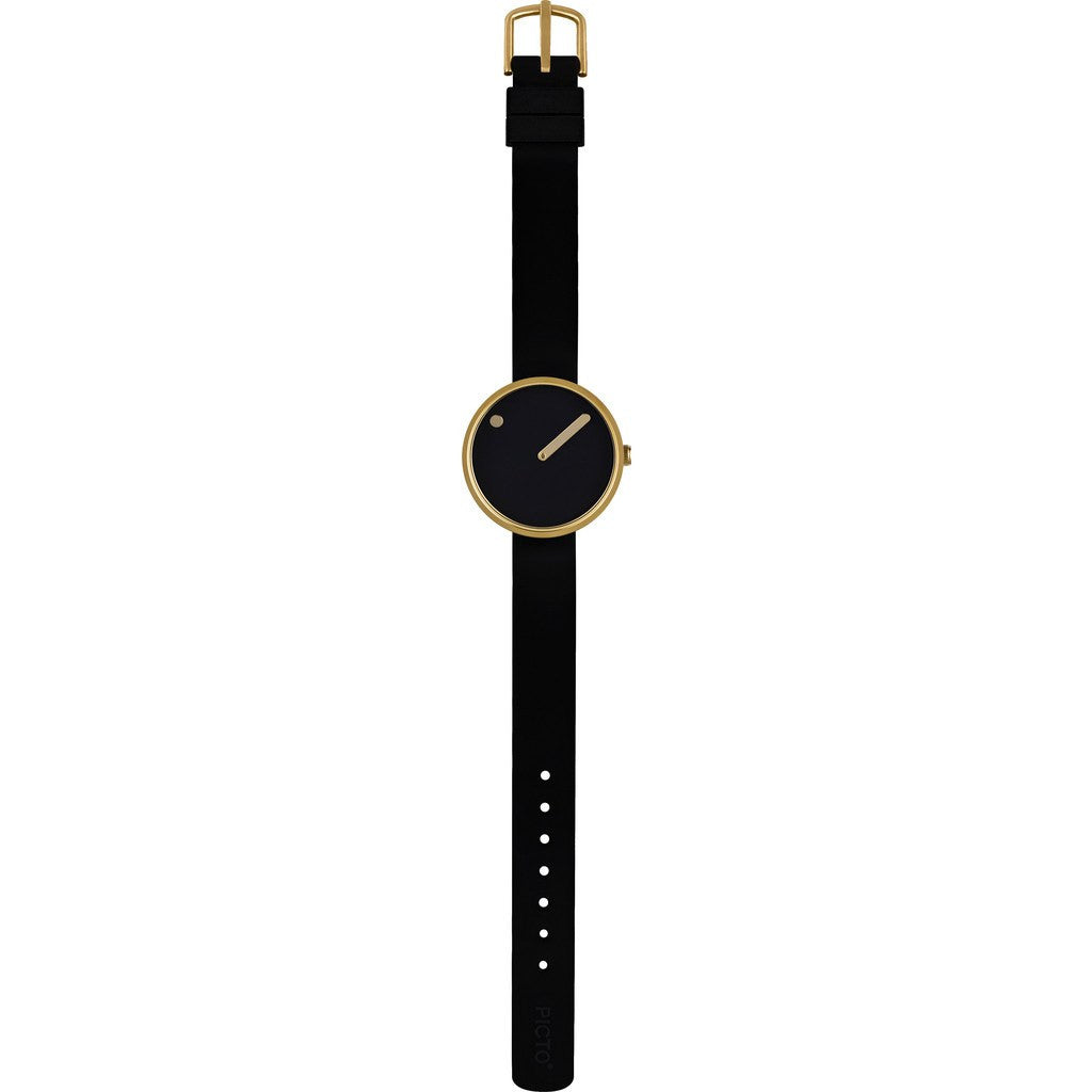 Picto 30mm Black Analog Watch | Gold/Black Silicone RD-43385