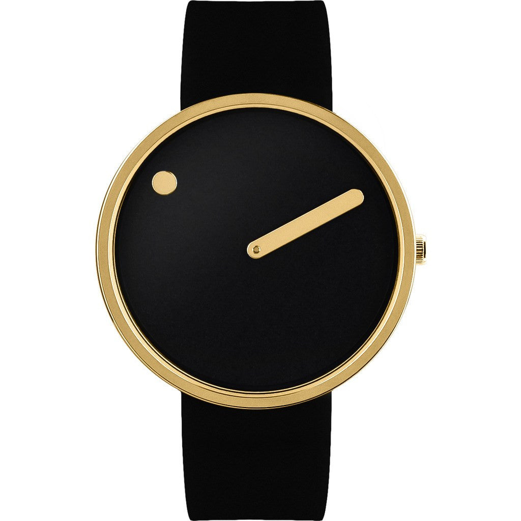 Picto 40mm Black Analog Watch | Gold/Black Silicone RD-43387