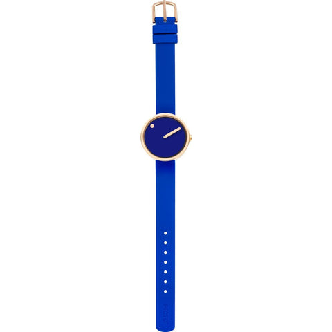 Picto 30mm Blue Analog Watch | Rose Gold/Blue Silicone RD-43389