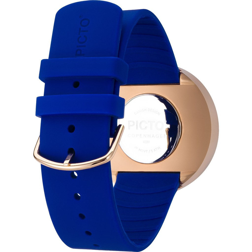 Picto 40mm Blue Analog Watch | Rose Gold/Blue Silicone RD-43391
