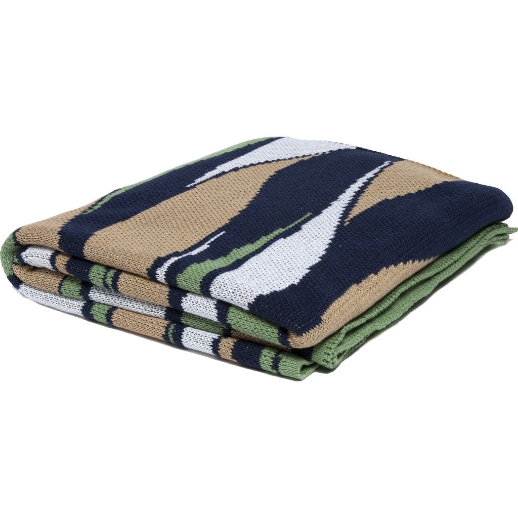 in2green Poly Breakers Eco Throw | Navy/Fern/White/Gold