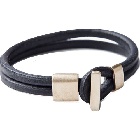 Tanner Goods Brass and Leather Premium Wristband | Black S