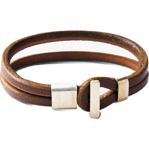 Tanner Goods Brass and Leather Premium Wristband | Cognac S
