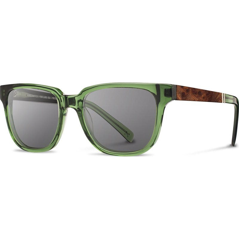 Shwood Prescott Acetate Sunglasses | Emerald & Elm Burl / Grey Polarized