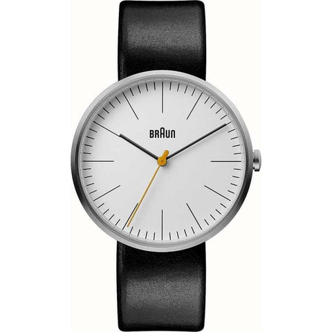 Braun 0173 White Men's Watch | Black Leather