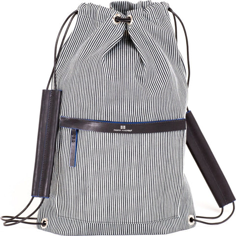 Proper Assembly No. 3 Cinch Backpack | Indigo Microstripe PA03BLK